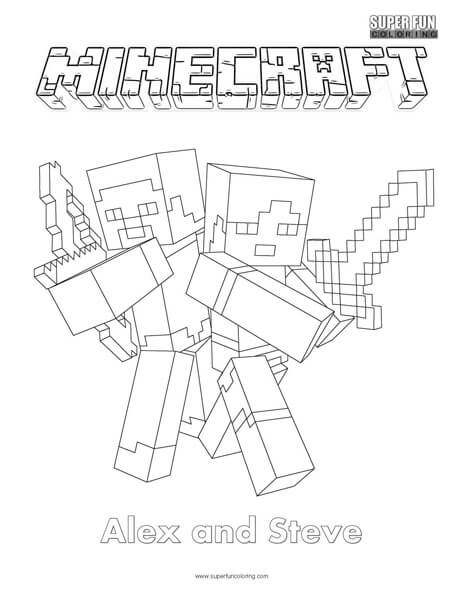 Alex and Steve Minecraft Coloring