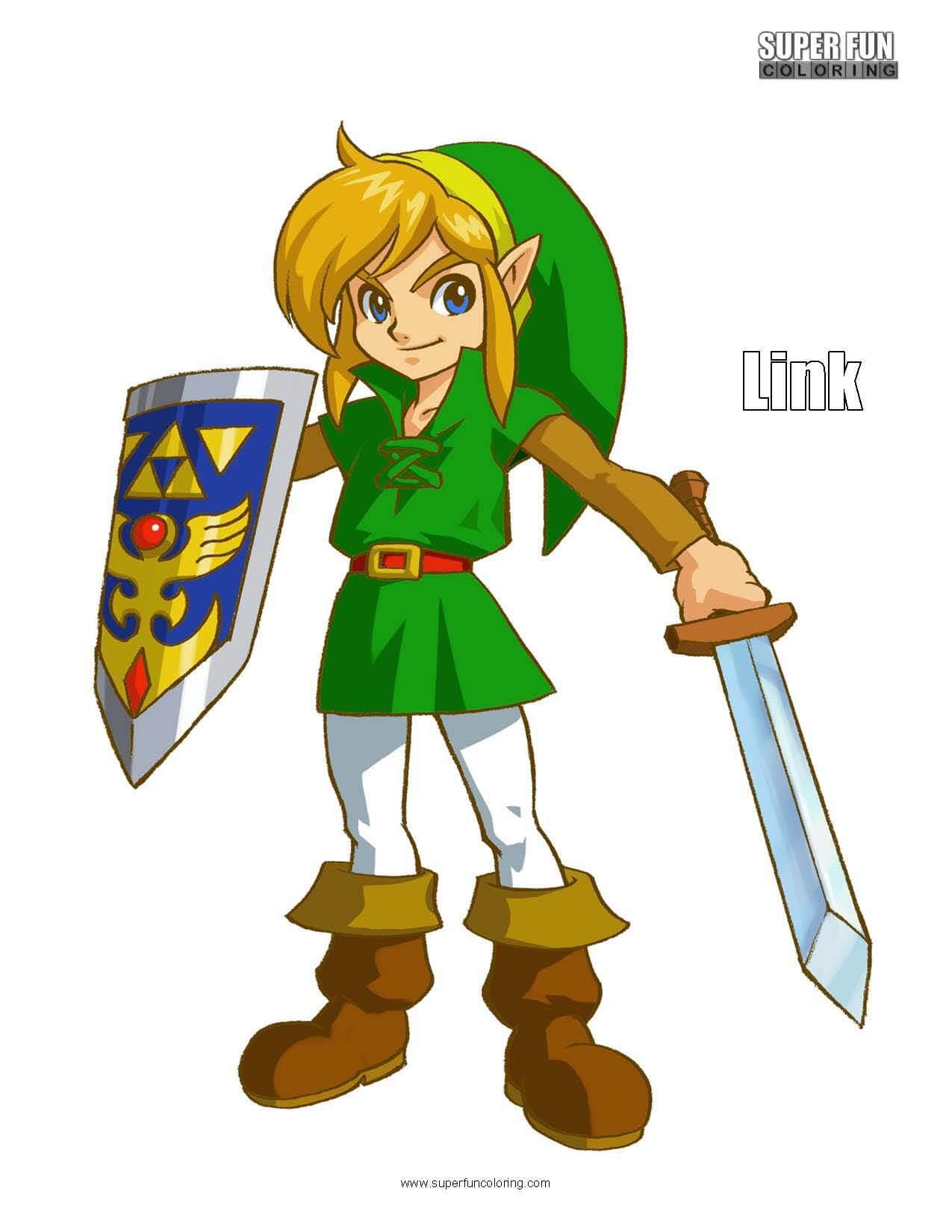 Link Legend of Zelda Coloring Sheet