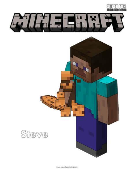 Steve Eating Cookie Minecraft Coloring