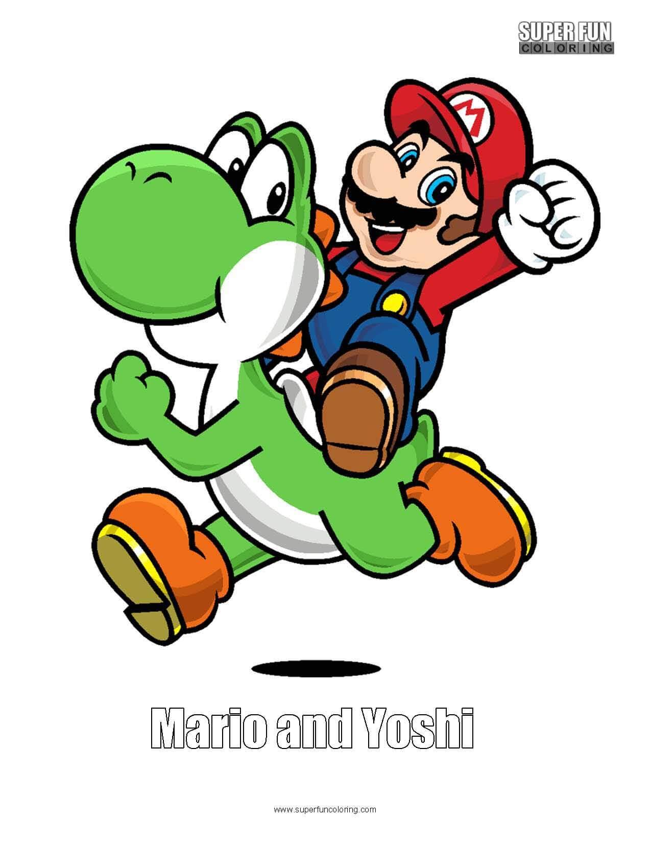Mario and Yoshi Coloring Sheet