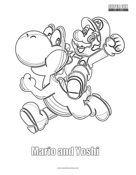 Mario and Yoshi Coloring Page Nintendo