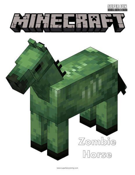 Minecraft Zombie Horse Coloring Page