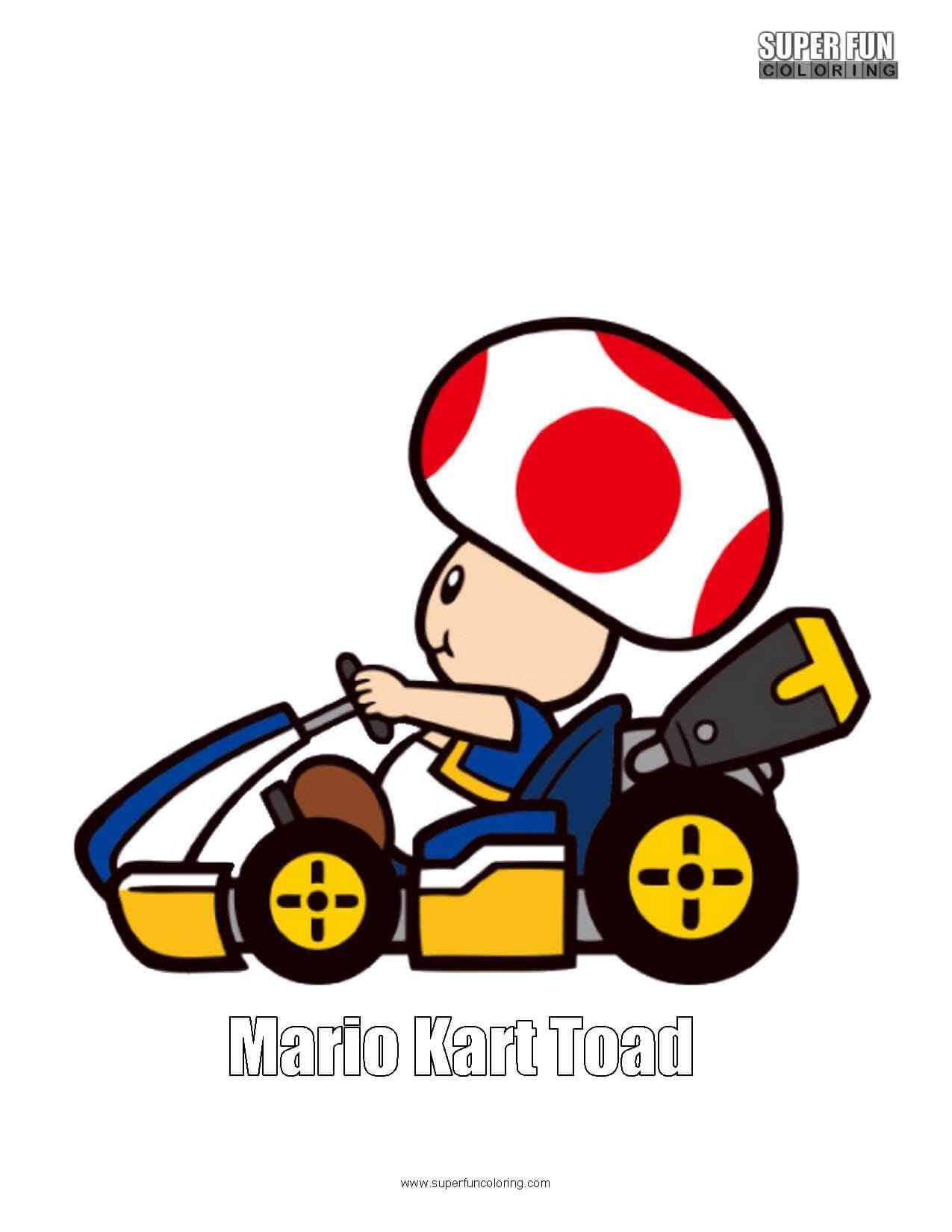 Mario Kart Toad  Coloring Sheet