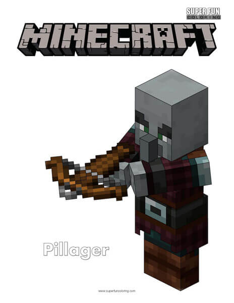 Minecraft Pillager Coloring Page