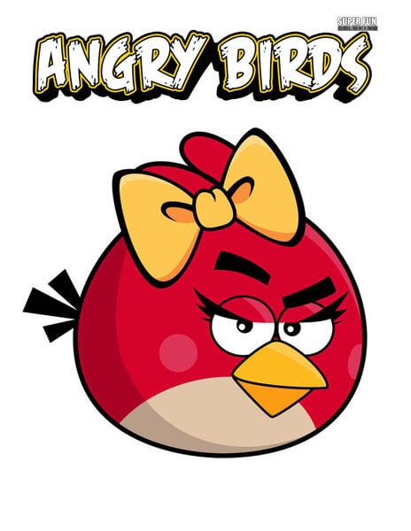 Red Bird Girl Angry Birds Coloring Page